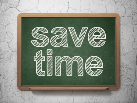 save time: Time concept: text Save Time on Green chalkboard on grunge wall background, 3D rendering Stock Photo