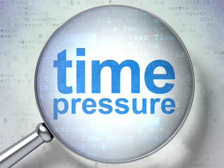 time pressure: Time concept: magnifying optical glass with words Time Pressure on digital background, 3D rendering