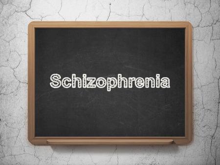 esquizofrenia: Concepto de la salud: La esquizofrenia de texto en la pizarra Negro en el fondo de la pared del grunge, 3D Foto de archivo