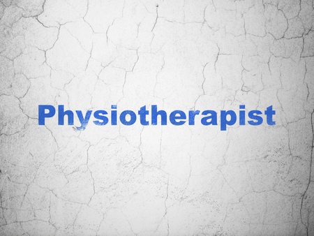 physiotherapist: Medicine concept: Blue Physiotherapist on textured concrete wall background