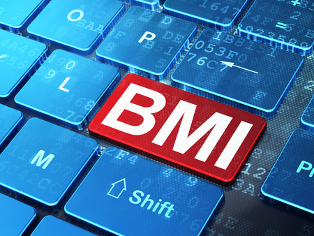 BMI: Health concept: computer keyboard with word BMI on enter button background, 3D rendering Stock Photo