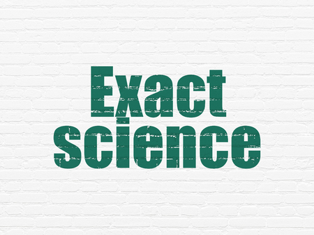 exact science: Science concept: Painted green text Exact Science on White Brick wall background