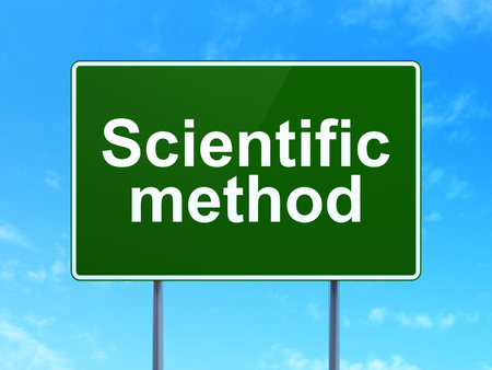 science scientific: Science concept: Scientific Method on green road highway sign, clear blue sky background, 3D rendering