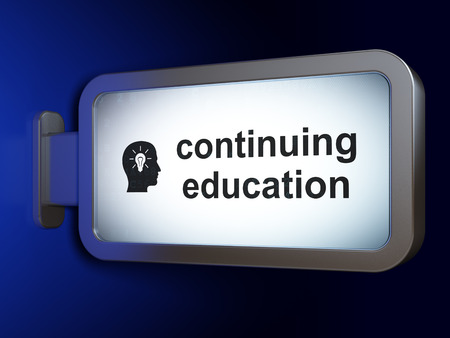 continuing education: Studying concept: Continuing Education and Head With Light Bulb on advertising billboard background, 3D rendering Stock Photo