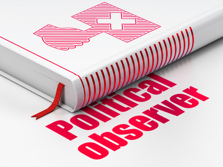 observer: Politics concept: closed book with Red Protest icon and text Political Observer on floor, white background, 3D rendering