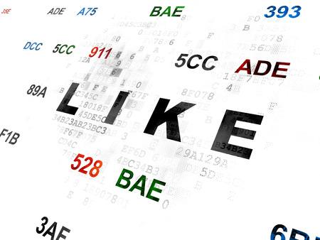 hexadecimal: Social network concept: Pixelated black text Like on Digital wall background with Hexadecimal Code