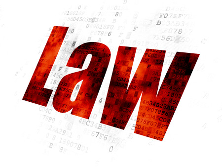 data protection act: Law concept: Pixelated red text Law on Digital background