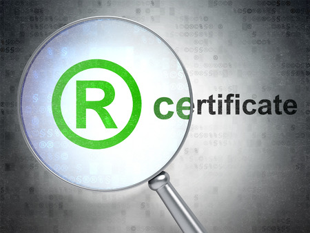 r regulation: Law concept: magnifying optical glass with Registered icon and Certificate word on digital background, 3D rendering Stock Photo
