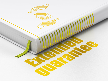 gold house: Insurance concept: closed book with Gold House And Palm icon and text Extended Guarantee on floor, white background, 3D rendering