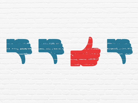Social network concept: row of Painted blue thumb down icons around red thumb up icon on White Brick wall background Stock Photo