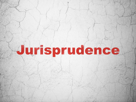 cement court: Law concept: Red Jurisprudence on textured concrete wall background