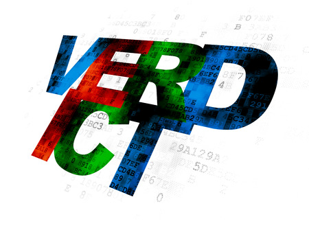 cyber defence: Law concept: Pixelated multicolor text Verdict on Digital background Stock Photo