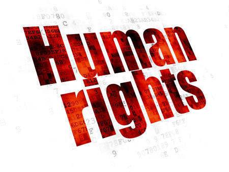Politics concept: Pixelated red text Human Rights on Digital background