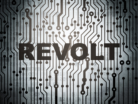 electronic voting: Politics concept: circuit board with  word Revolt, 3D rendering
