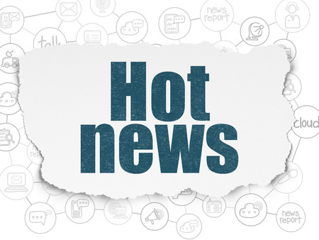 hot news: News concept: Painted blue text Hot News on Torn Paper background with Scheme Of Hand Drawn News Icons Stock Photo