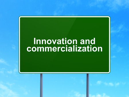 commercialization: Science concept: Innovation And Commercialization on green road highway sign, clear blue sky background, 3D rendering