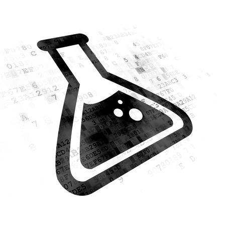 erlenmeyer: Science concept: Pixelated black Flask icon on Digital background