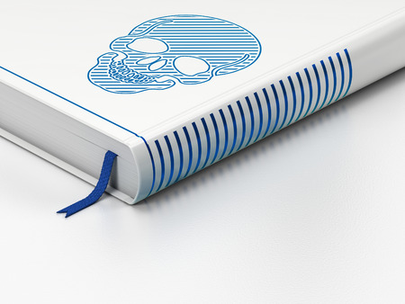 Medicine concept: closed book with Blue Scull icon on floor, white background, 3D rendering