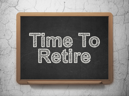 retire: Timeline concept: text Time To Retire on Black chalkboard on grunge wall background, 3D rendering Stock Photo