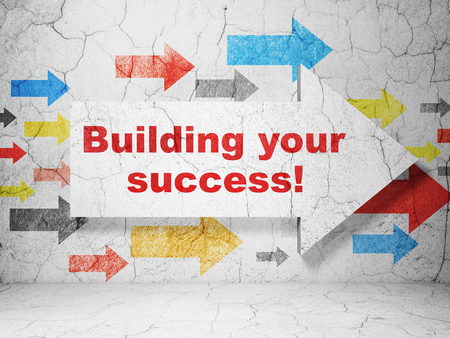 Business concept: arrow with Building your Success! on grunge textured concrete wall background, 3D rendering
