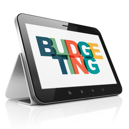 budgeting: Business concept: Tablet Computer with Painted multicolor text Budgeting on display, 3D rendering