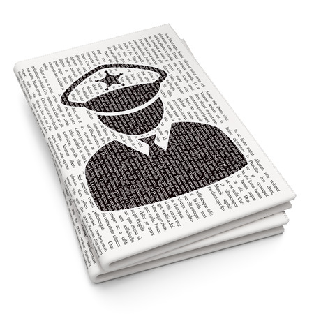data protection act: Privacy concept: Pixelated black Police icon on Newspaper background, 3D rendering