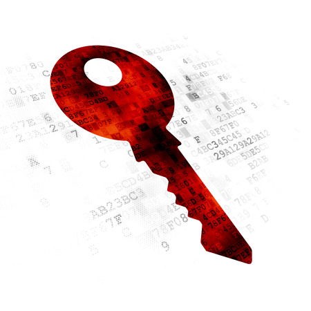 Security concept: Pixelated red Key icon on Digital background Stock Photo