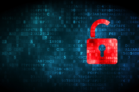 Safety concept: pixelated Opened Padlock icon on digital background, empty copyspace for card, text, advertising Stock Photo