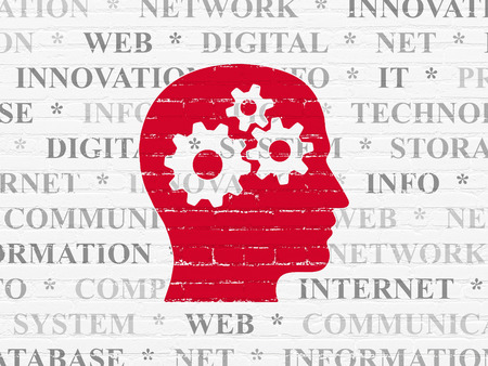 head tag: Information concept: Painted red Head With Gears icon on White Brick wall background with  Tag Cloud