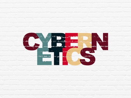 cybernetics: Science concept: Painted multicolor text Cybernetics on White Brick wall background