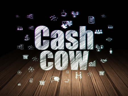cash cow: Business concept: Glowing text Cash Cow,  Hand Drawn Business Icons in grunge dark room with Wooden Floor, black background