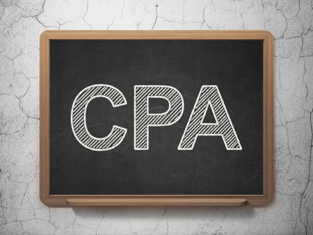 cpa: Business concept: text CPA on Black chalkboard on grunge wall background, 3D rendering