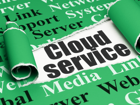 green computing: Cloud computing concept: black text Cloud Service under the curled piece of Green torn paper with  Tag Cloud, 3D rendering