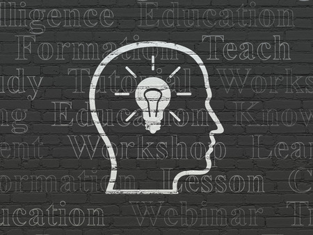head tag: Learning concept: Painted white Head With Lightbulb icon on Black Brick wall background with  Tag Cloud