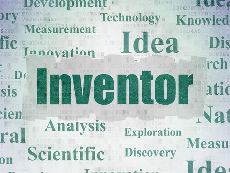 inventor: Science concept: Painted green text Inventor on Digital Data Paper background with   Tag Cloud