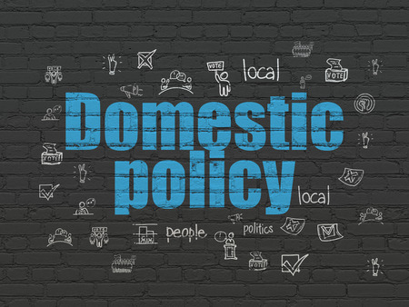 domestic policy: Politics concept: Painted blue text Domestic Policy on Black Brick wall background with  Hand Drawn Politics Icons Stock Photo
