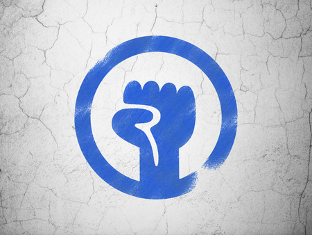 uprising: Political concept: Blue Uprising on textured concrete wall background