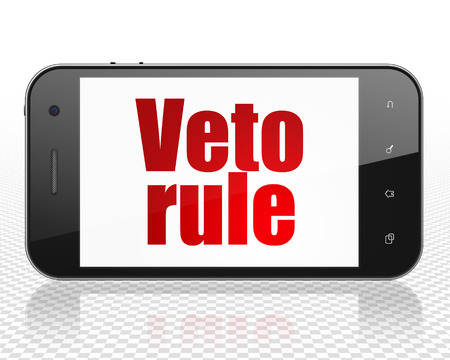 veto: Politics concept: Smartphone with red text Veto Rule on display, 3D rendering