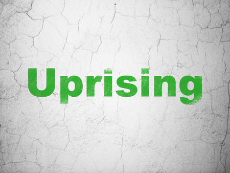 uprising: Political concept: Green Uprising on textured concrete wall background