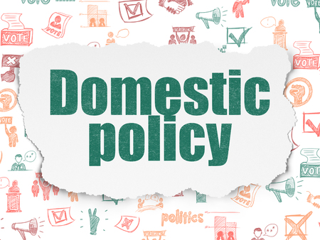 domestic policy: Politics concept: Painted green text Domestic Policy on Torn Paper background with  Hand Drawn Politics Icons Stock Photo