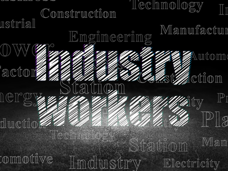 dirty room: Industry concept: Glowing text Industry Workers in grunge dark room with Dirty Floor, black background with  Tag Cloud Stock Photo