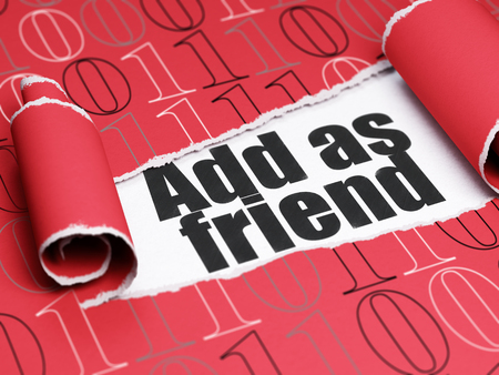 add as friend: Social media concept: black text Add as Friend under the curled piece of Red torn paper with  Binary Code, 3D rendering Stock Photo