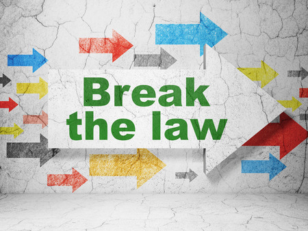 concrete court: Law concept:  arrow with Break The Law on grunge textured concrete wall background, 3D rendering
