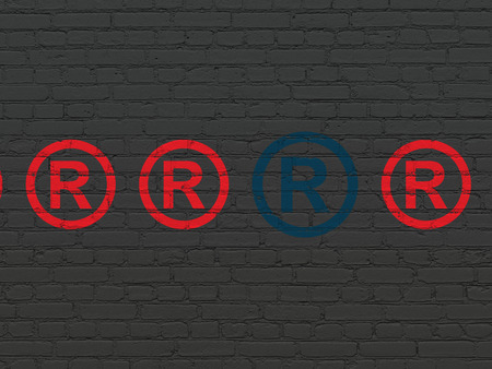 r regulation: Law concept: row of Painted red registered icons around blue registered icon on Black Brick wall background