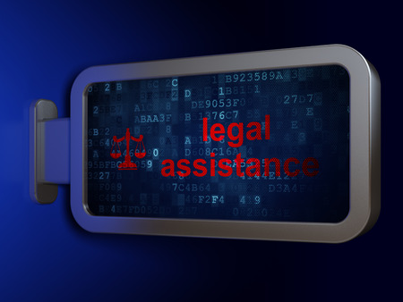 bill of rights: Law concept: Legal Assistance and Scales on advertising billboard background, 3D rendering