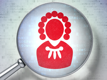 Law concept: magnifying optical glass with Judge icon on digital background, 3D rendering