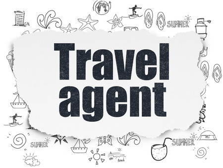 travel agent: Vacation concept: Painted black text Travel Agent on Torn Paper background with  Hand Drawn Vacation Icons