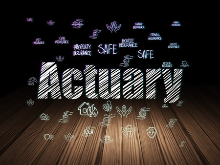 actuary: Insurance concept: Glowing text Actuary,  Hand Drawn Insurance Icons in grunge dark room with Wooden Floor, black background