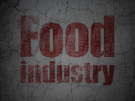 food industry: Industry concept: Red Food Industry on grunge textured concrete wall background