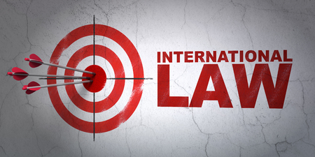 international law: Success political concept: arrows hitting the center of target, Red International Law on wall background, 3D rendering